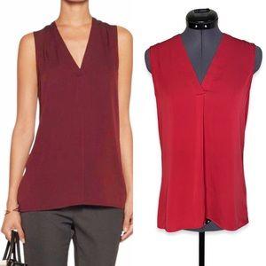 Theory Jamissa Silk Crimson Sleeveless VCut Blouse